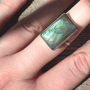 Sterling plated rectangle labradorite ring